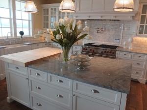 Gorgeous gray quartzite countertops in the kitchen