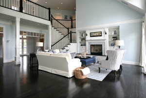 The two-story great room with a beachy coastal vibe