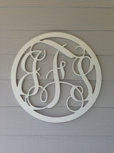 "Close-up of the monogram sign ""J F S"""