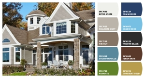 Chose exterior color ideas using Sherwin Williams' Chip It tool.