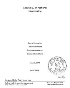 Engineering Calcs Cover Sheet