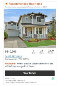 "Redfin 'dubbed' us a ""Hot Home"" - hopefully it will sell within the next 9 days!"