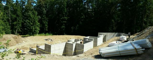 The formwork has all been stripped and now you can really see the concrete walls & footings in the basement.
