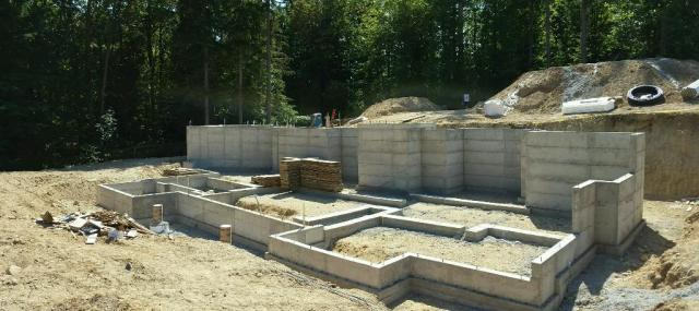Another view of the basement walls - this time from standing in the (future) back yard.