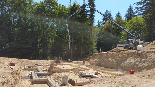 They reached over the excavated area to get to our footings.