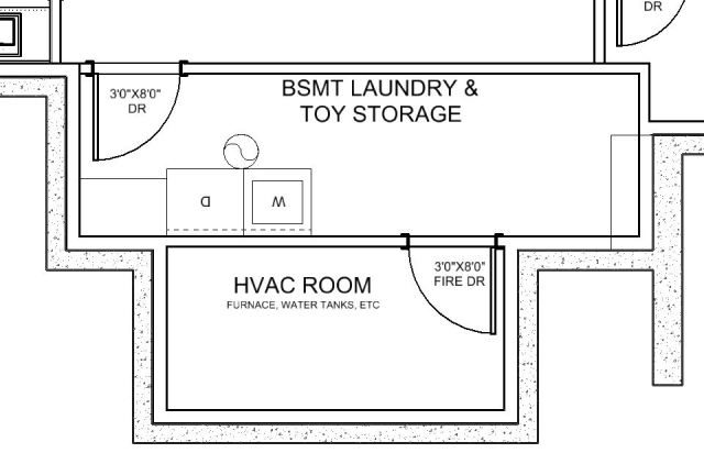 Here's the new design of the toy storage & HVAC space.  More space has been given to the HVAC equipment.