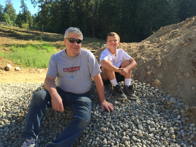 My dad came out and watched the slab pour too - it was fun having him there.