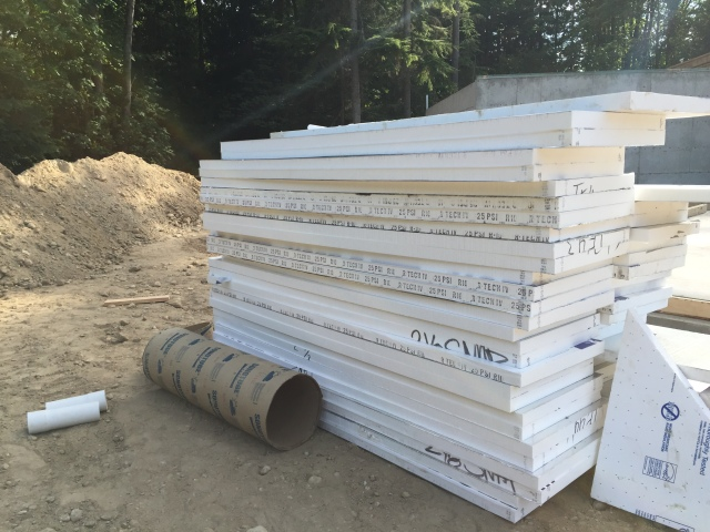 R-10 rigid foam insulation all stacked up before it was installed