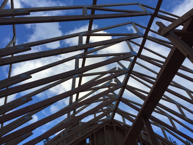 Another view of the trusses from underneath.  Love the blue skies!