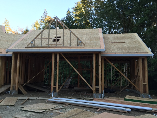 They even started on the gable on top of the garage!
