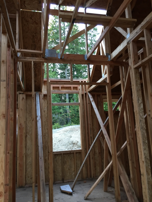 The dormers above the window in the master closet and the laundry room haven't been started yet.