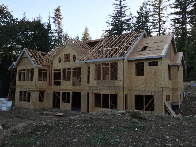 The back of the house still needs some sheathing, but it's coming along!