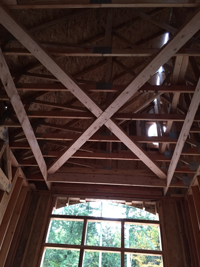 "The tray ceiling and ""X"" pattern on the ceiling were constructed."
