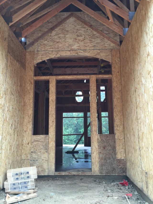 The entryway windows have been framed.