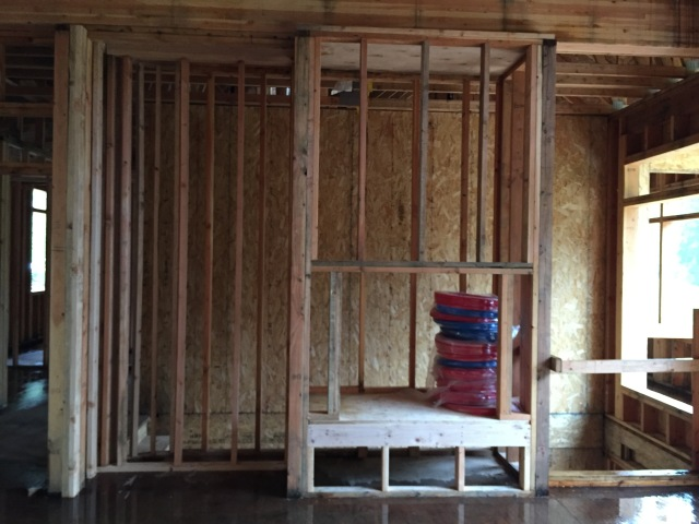 The fireplace framing was built this week - we'll have a bench under the the fireplace, so it's raised up off the floor.
