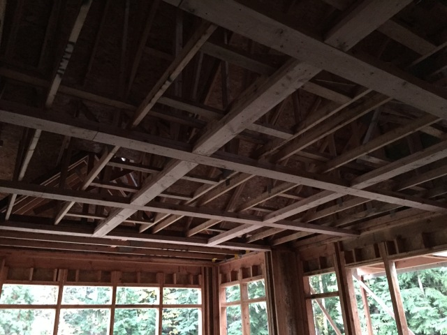 The coffered ceiling in the kitchen looks AMAZING!