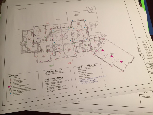 Before our electrical walk thru on Monday, I drew up my initial electrical plan for the house