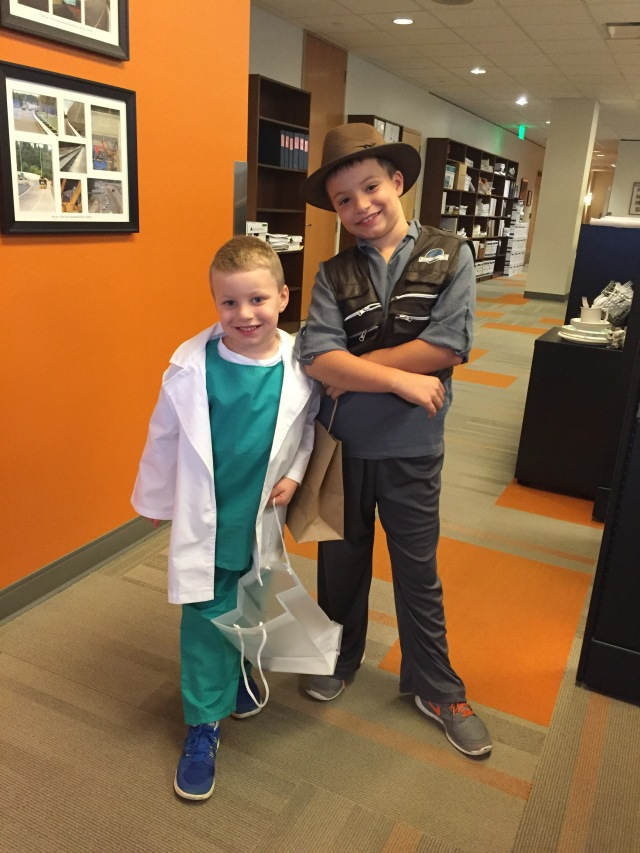 Had to sneak this pic in - Spencer was Dr. Forman, and Cameron dressed up as the paleontologist from Jurassic World.