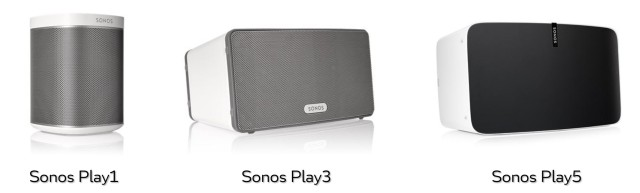 Currently, Sonos offers three different speakers, the Play1, Play3, and the Play5. Starting with the Play1, they get larger and more powerful. Sizes are chosen depending on the size of the room and/or how loud you want to play music.