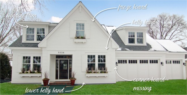 Here's an overview of what each of these trim pieces are (although this home doesn't have corner boards).