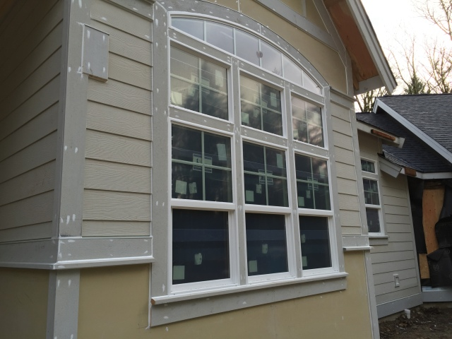 A close up view of the siding details at the dining room windows.