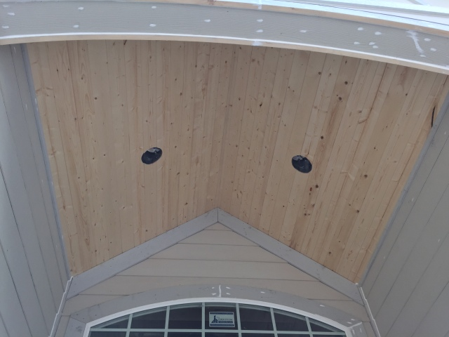 A closer look at the front porch ceiling.