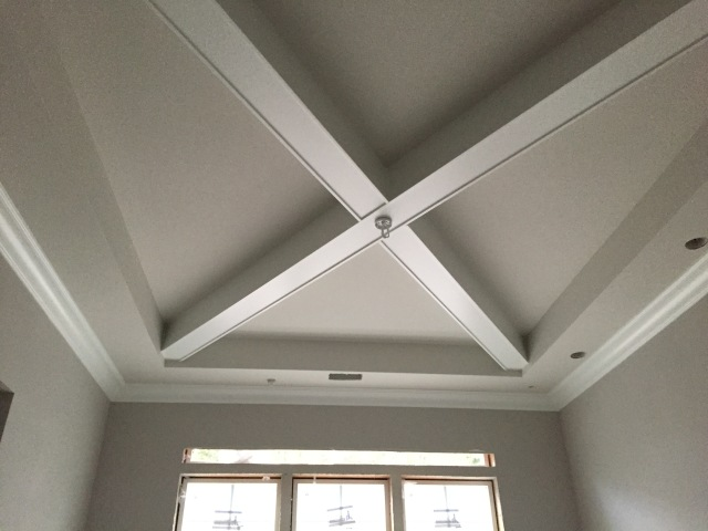 The crown moulding was installed in the dining room, entry, master bedroom and master bathroom this week as well. The trim in the dining room was also painted the final color. YAY!!!